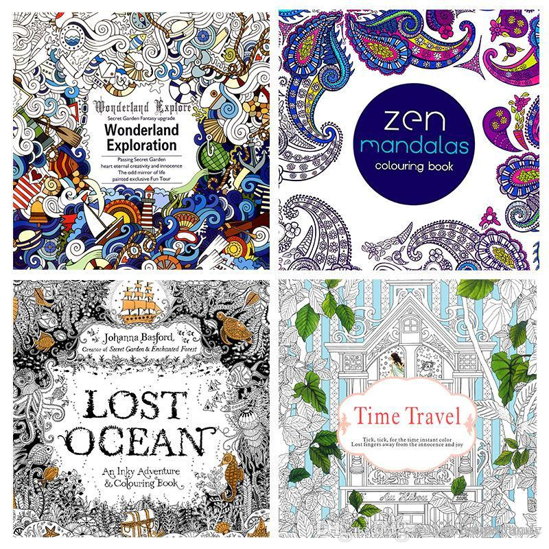 Newest 24 Pages Adult Coloring Books Relieve Stress Lost Ocean Zen Mandalas Time Travel Wonderland Exploration Colour In Book Games