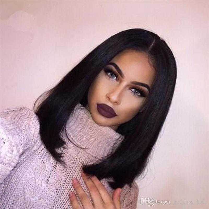 malaysian grade 8a full lace wig short black hair middle part