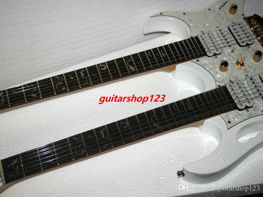 Özel beyaz Çift Boyun 6/12 dizeleri Elektrik Gitar beyaz hayat ağacı OEM Mevcut