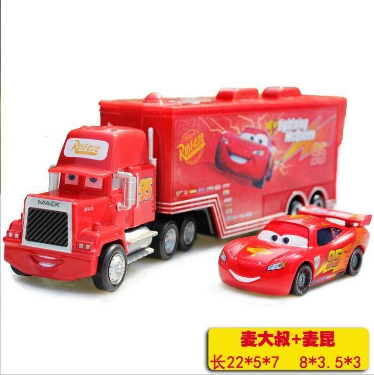 Lightning Mcqueen Mack Truck : Cars lightning mcqueen metal container with king mack