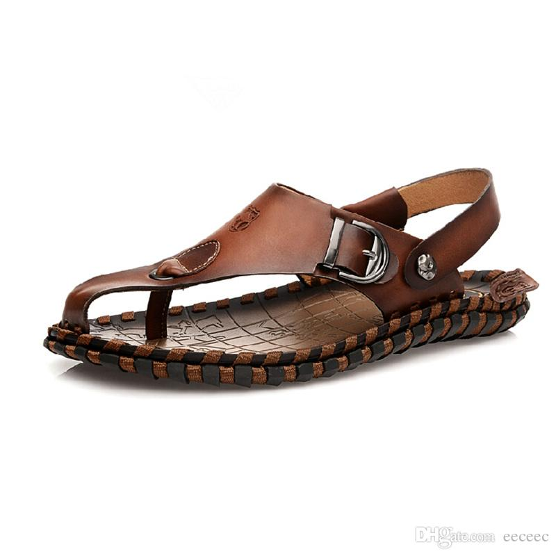 1274b84621e75 US Size 6 10 New Leather Mens Causal Beach T Strap Sandals Flip Flops  Footwear Shoes Ladies Sandals Girls Sandals From Eeceec