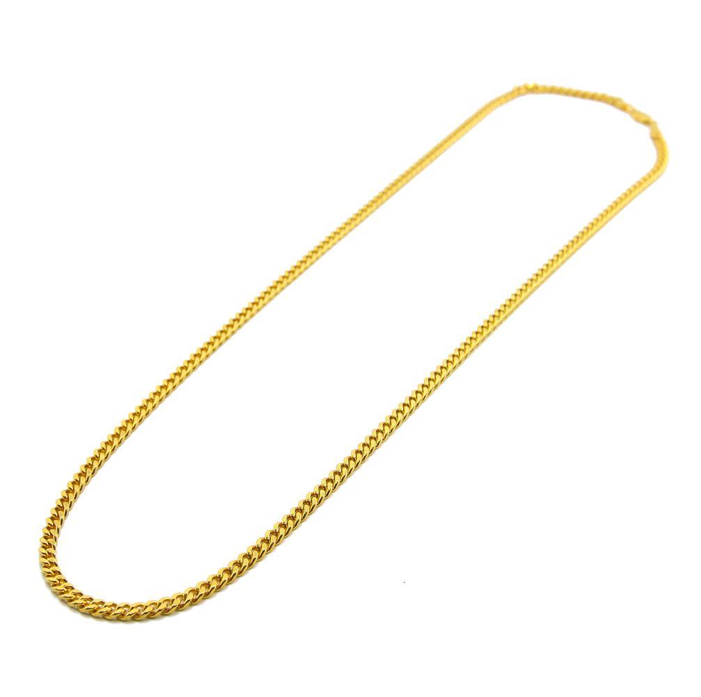 5mm / 30inch 3mm / 24inch Real 24K Oro giallo placcato rodio Solido cordolo cubano Catena da uomo Collana Hip Hop Stile gioielli