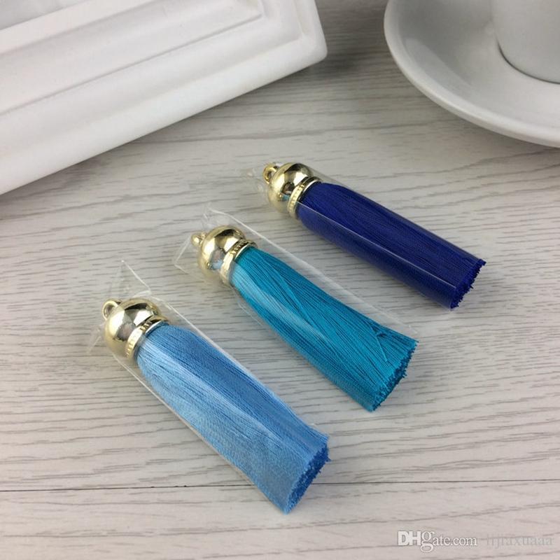 Atacado new silk borla keychain para as mulheres trinket diy charme chaveiro anel de bolsa bolsa accessiories para fazer jóias de presente de natal