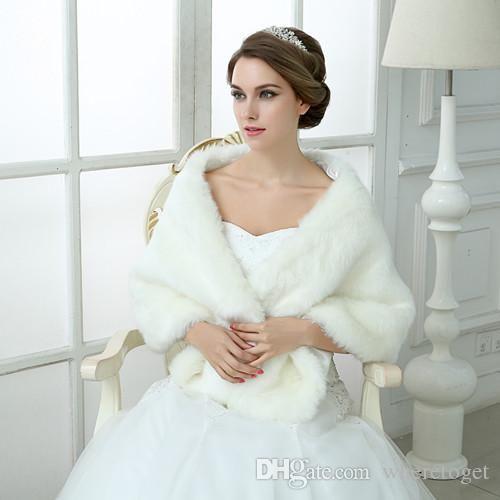 Giacca Bolero Wedding Bolero White Black Bridal Wraps Elegante Boleros Scollega le spalle Regular Faux Pelliccia Stolano Capes Scialle con Peals