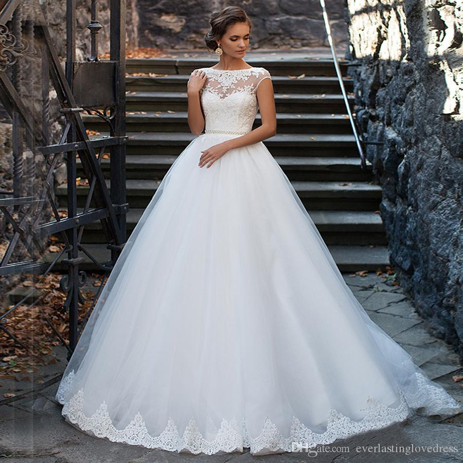 See Through Short White Tulle Lace Wedding Dress Ball Gowns Beading