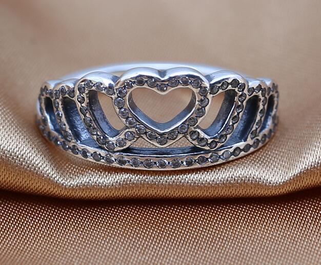Anéis novos 100% 925 Anel de prata esterlina com cúbico zircônia coração corações tiara, cz estilo europeu cabe para pandora estilo jóias moda