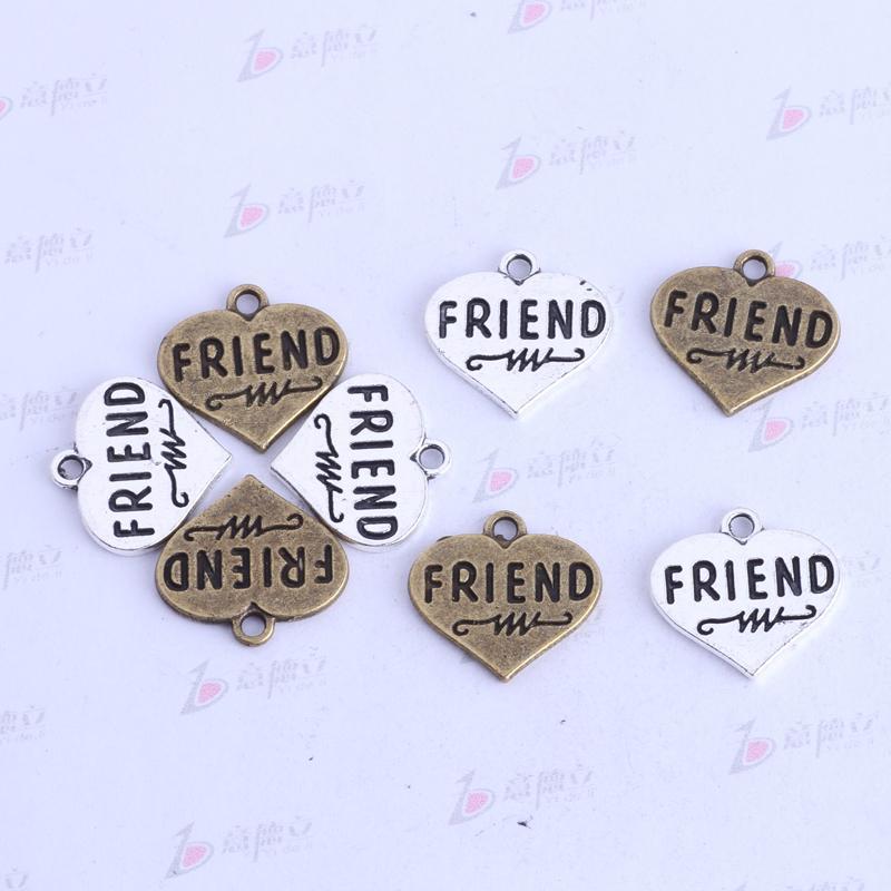 FRIEND flat love pendentif argent antique / bronze rétro DIY bijoux charmes fit Collier ou Bracelets / 3433