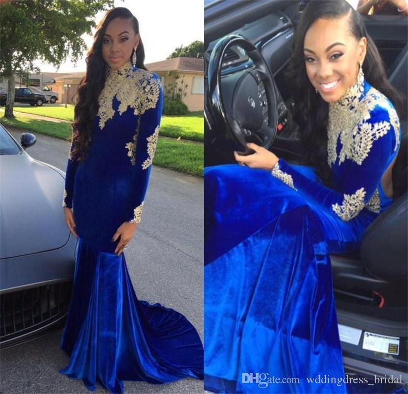 ecc33424d56 Arabic Royal Blue Velvet Mermaid Prom Dresses 2019 High Neck Backless Long  Sleeves Evening Gowns Lace Appliqued African Formal Party Dress Prom Dresses  For ...