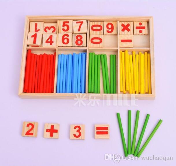 Jouets pour bébé Comptage des bâtons Éducation Jouets en bois Building Intelligence Blocks Montessori Mathématique Boîte En Bois Enfants Cadeau