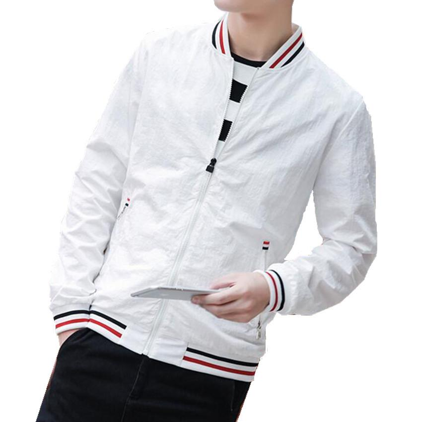 5d09846c3cca White Stand Collar Jacket Men New Baseball Jackets Solid Spring Coats  British Style Fashion Youth Casual Coats Black Durk Blue Coats For Man  Jacket Top From ...