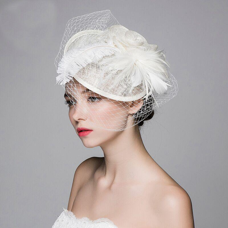 2019 XS Fashion Yarn Hat Ostrich Feathers White Gauze Flax Hat Dinner  Parties Woman Hair Accessory From X s ec co ltd 75038e40606