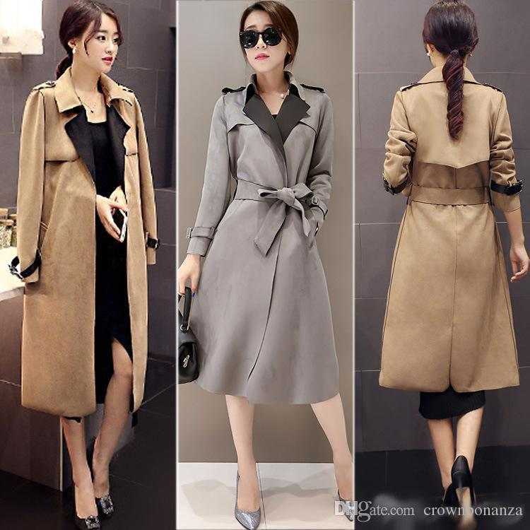 e8bdefab9a8 Englend Style Women Ladies Suede Trench Coat Slim-Fit Belted Long Dust Coats  Khaki Grey Classic Long Trenchcoat Outwear Women Ladies Suede Trench Coat  Long ...