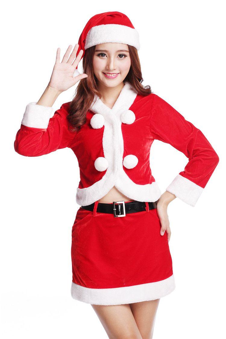 ... Christmas dresses for girls Sexy Miss Santa Claus Velvet Set four Pieces Uniforms Outfits Christmas sexy ...  sc 1 st  DHgate.com & 2018 Christmas Dresses For Girls Sexy Miss Santa Claus Velvet Set ...