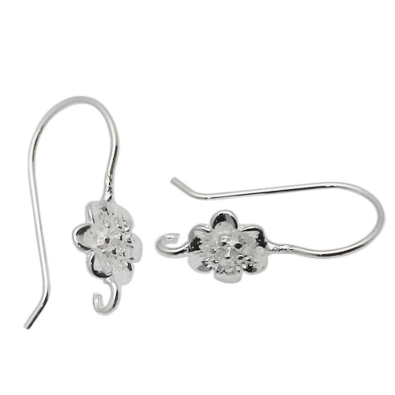 Beadsnice Fish Hook Earring Wires Open Loop Flower Ear Wires 925 Sterling Silver Earring Findings Supplies ID 34933