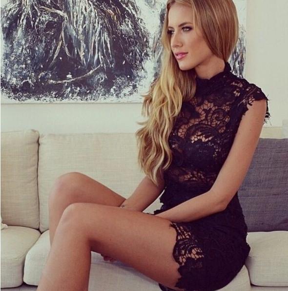 2015020502 Nueva llegada 2015 encaje sexy bodycon dress cuello alto sin mangas vestido del vendaje del halter