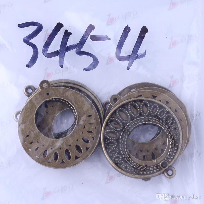 / antique argent / bronze charmes pendentifs ronds bijoux bricolage alliage de zinc en forme de colliers ou bracelets 3454