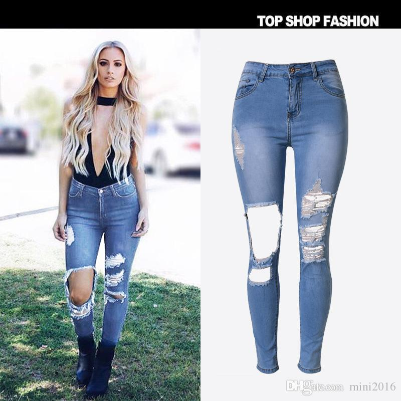 2017 High Waist Skinny Jeans Women 2017 High Quality Hole Ripped ...