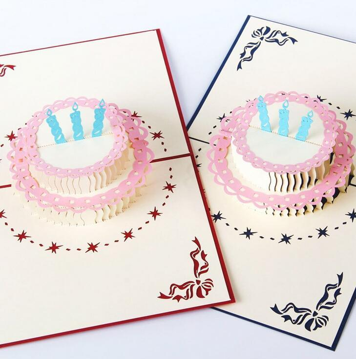 3D POP UP Handmade Birthday Gift Greeting Card With Cake Flower Candle Decoration Cards Gifts DHL Online