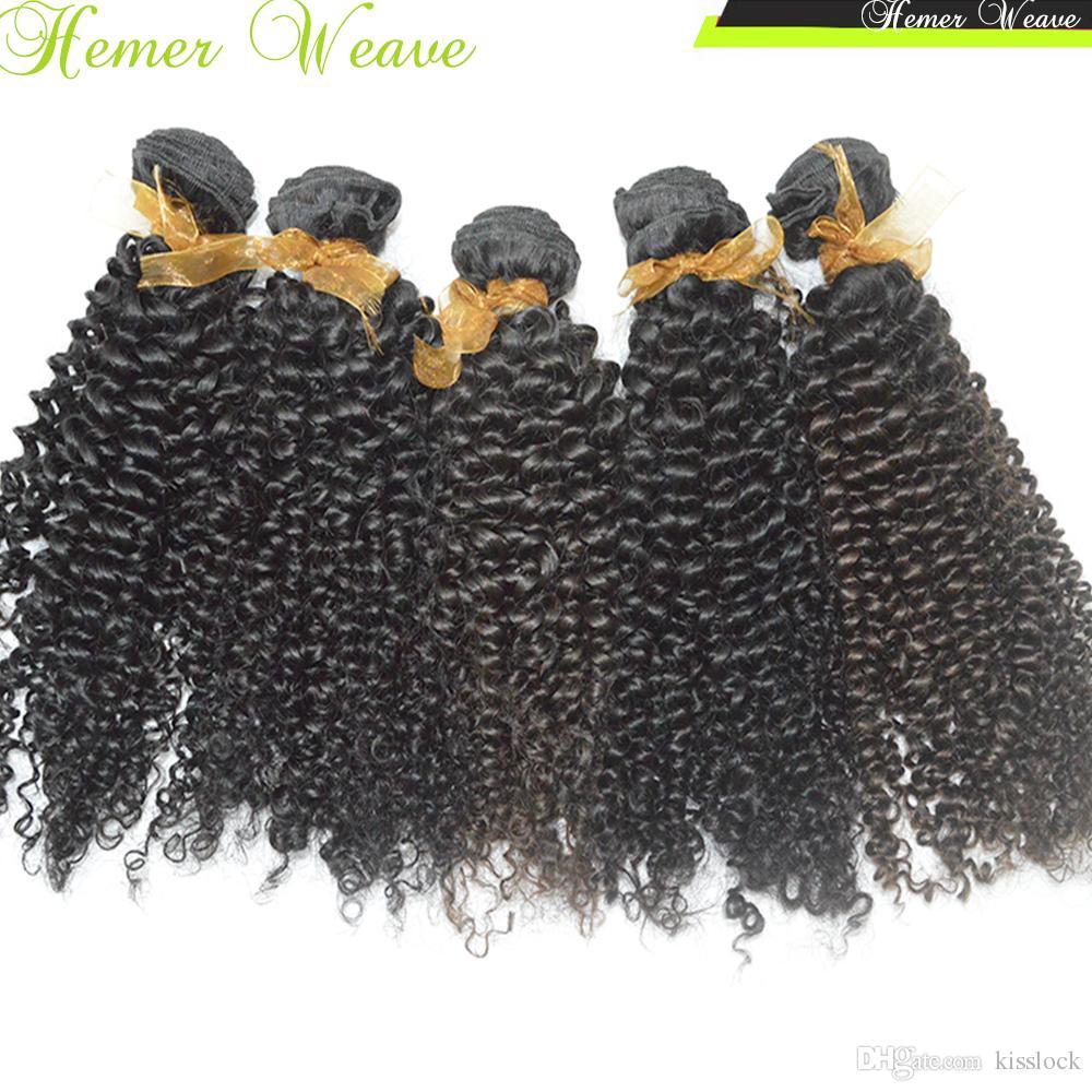 Малый бизнес BEST 8a Kinky Curly Virgin Перуанские человеческие волосы ткет 3 пучка