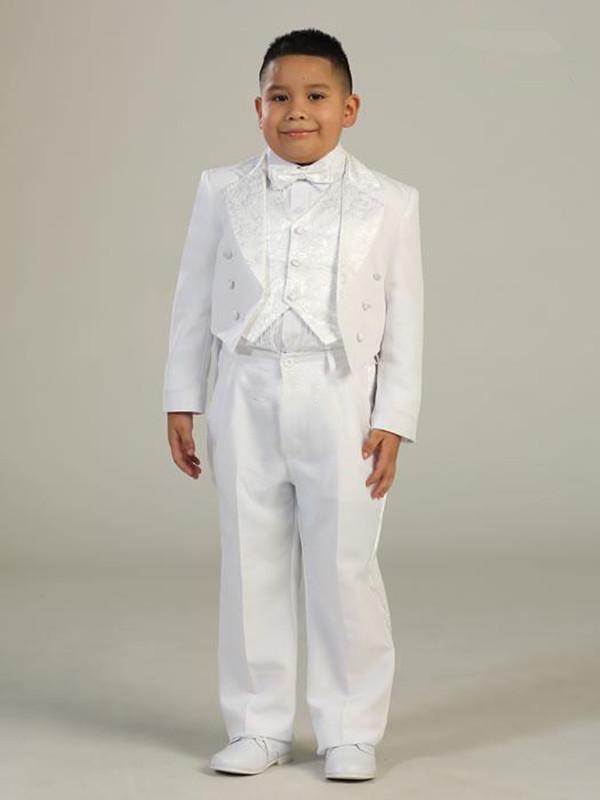 2016 New Popular Design Stylish White Boy's Wedding Events Suit Formal Occasion Children's Clothes Jacket+Pants+Tie+Vest