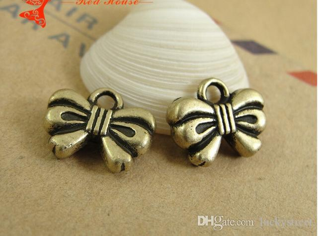 A3176 12*10MM Retro Korea style diy pretty butterfly knot charms for girls mobile accessories, Antique bronze Zinc alloy metal pendant