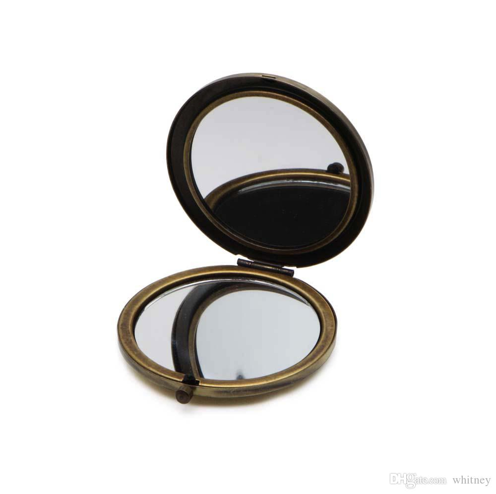 空白のコンパクトミラーDIYの金属のポケット化粧品の携帯用mirrorr 70mm / 2.75インチ青銅色の色#18410-3送料無料