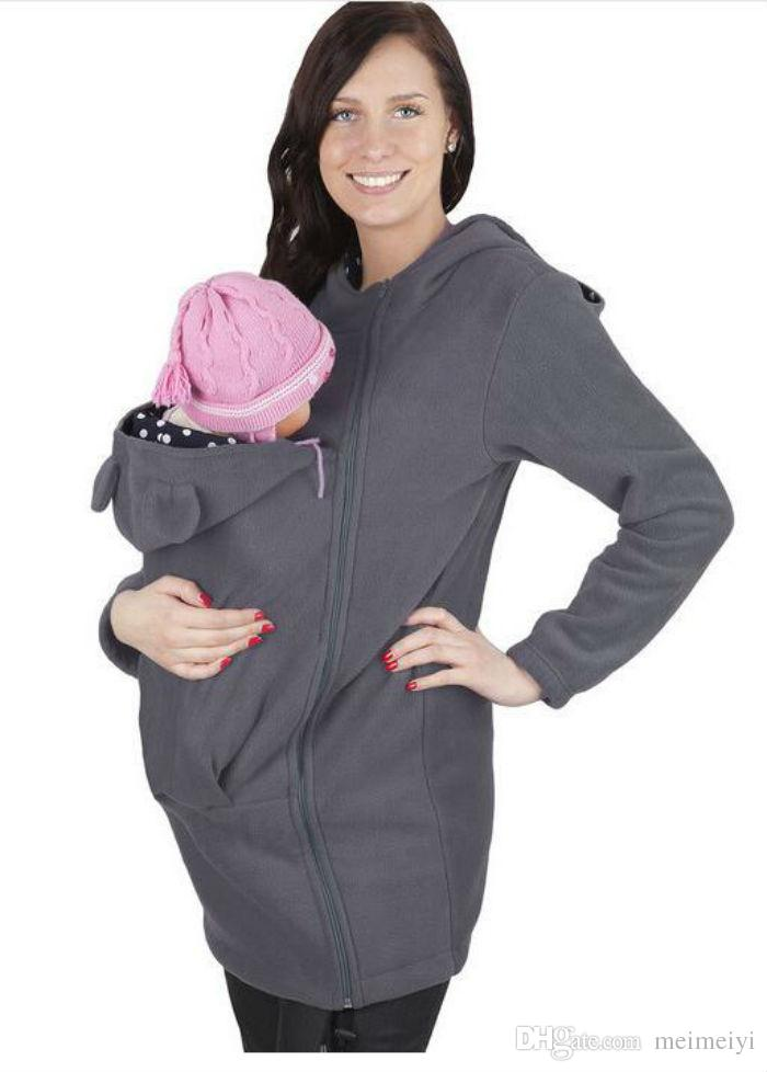 women Clothing Baby Carrying Carrier Hoodie Kangaroo for Mom and Baby Wearing Hoodie Maternity Sweater
