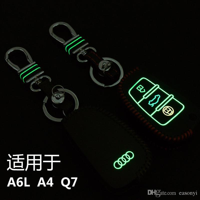 Cuir de haute qualité à coudre à la main en cuir lumineux couvercle de clé de voiture porte-clé de cas de la chaîne de la télécommande pour A6L / A4 / Q7 3 boutons se pliant.