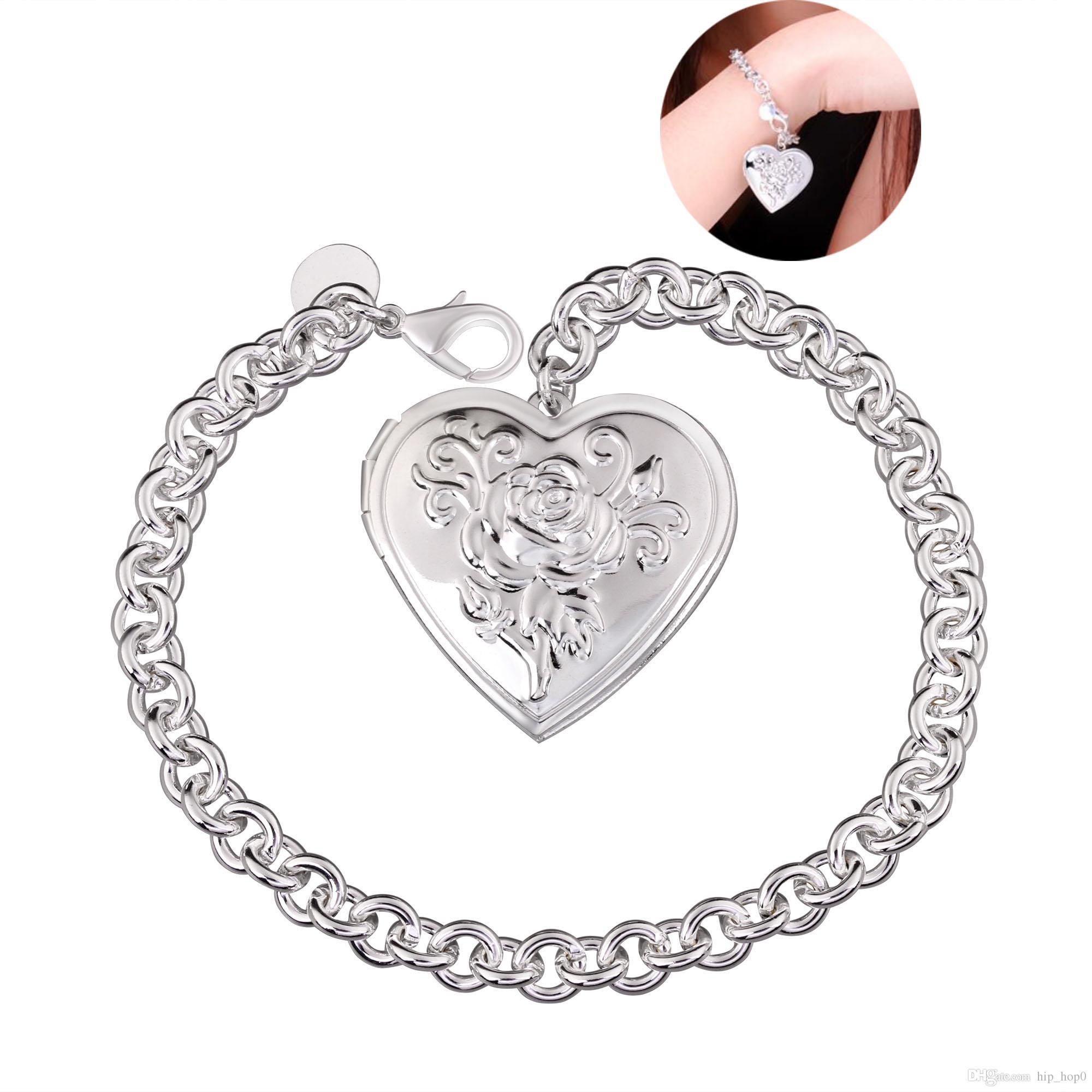 Locket Pendant Heart Pattern Charms Bracelet 925 Sterling Silver