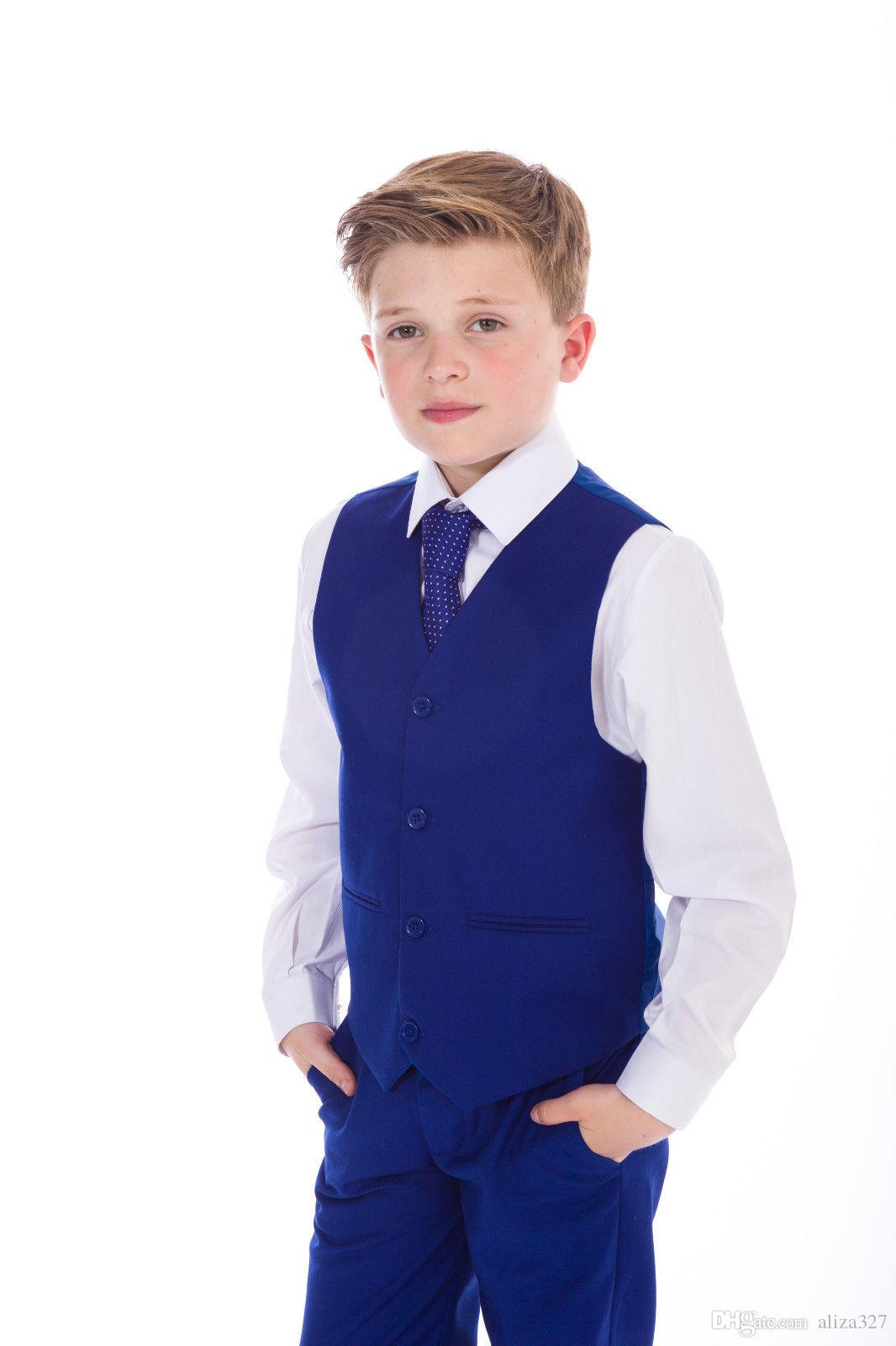 Boys Blue Suits, Boys Suits, Page Boy Prom Wedding Party Outfit jacket + vest + pants custom made