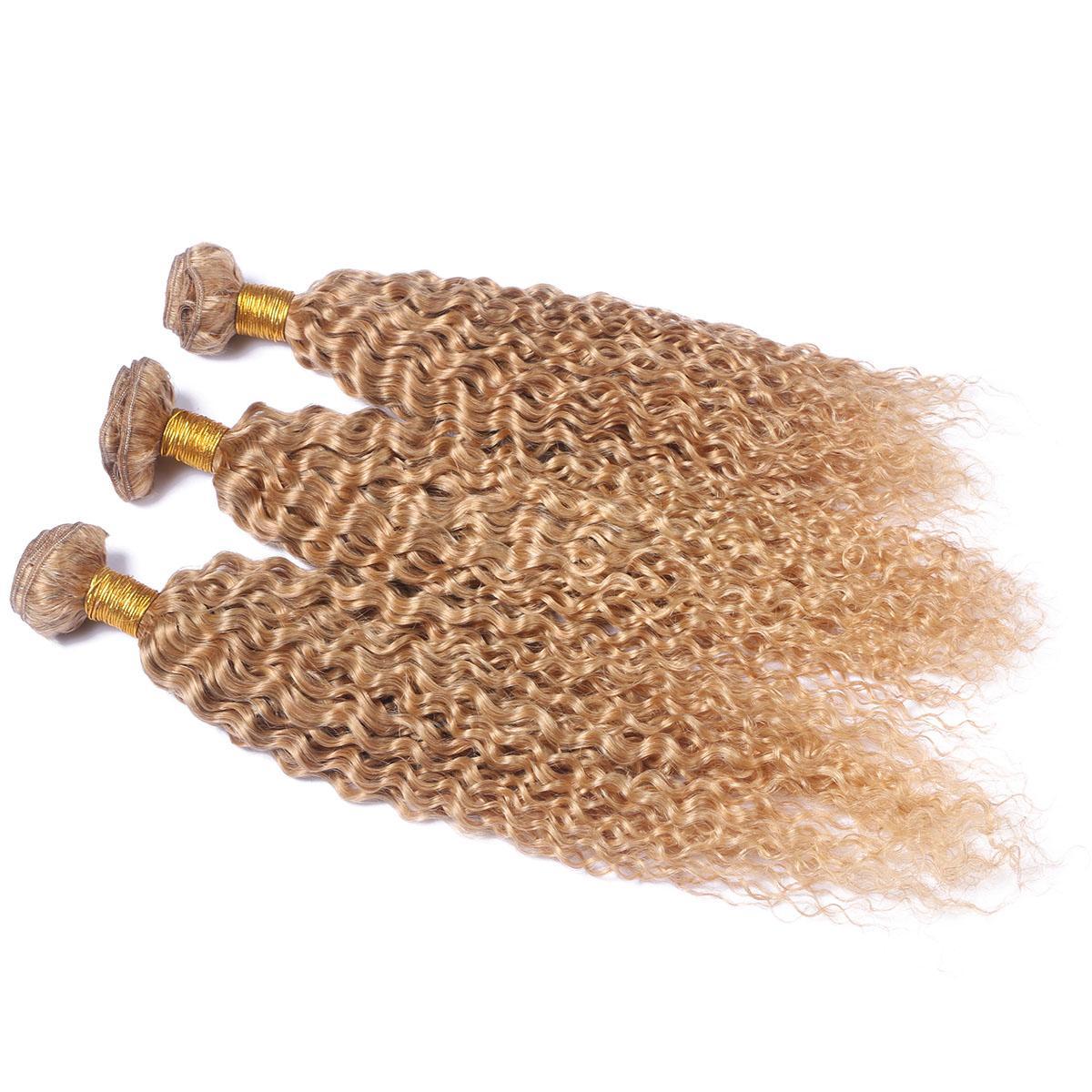 Miel Blonde Brésilien Kinky Bouclés Bouclés Tissage de Cheveux Humains avec Fermeture Frontale en Dentelle # 27 Fraise Blonde 13x4 Pleine Dentelle Frontal avec 3Bundles