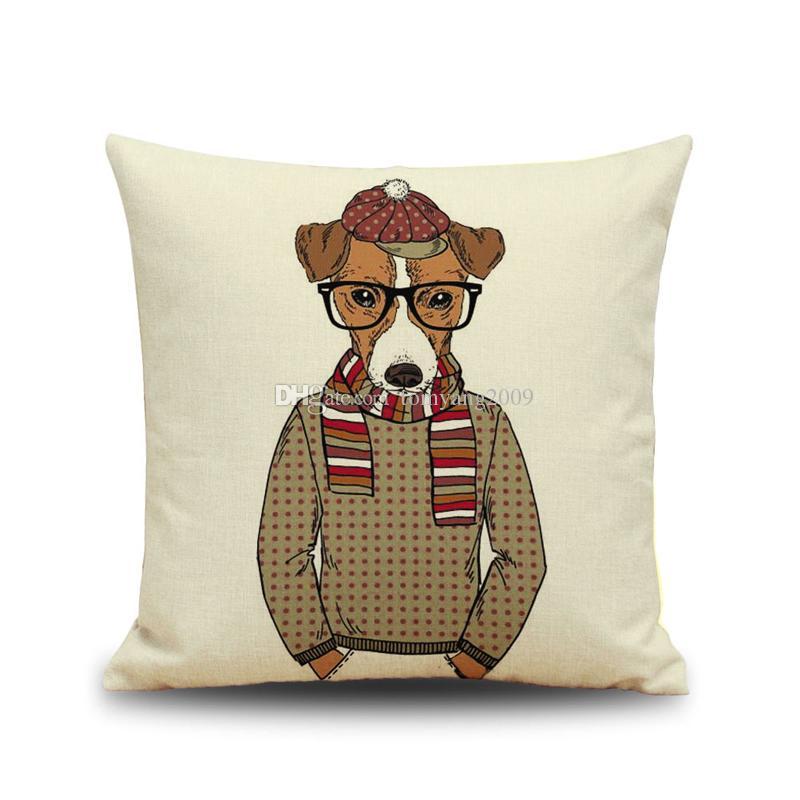 Mr Dog Linen Fronha Cão Com Óculos Personification Capa de Almofada Estilo Do Cão Do Carro Capa de Almofada Home Sofá Nap Cushion Caixas
