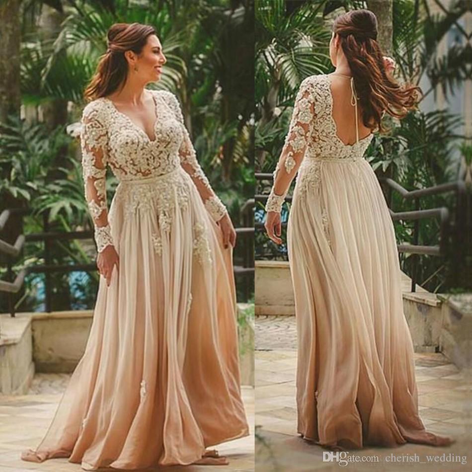Discount Country Beach Long Wedding Dress A Line Sleeves Bridal Gown Deep V Neck Indian Style Backless Lace Applique Vestido De Novia