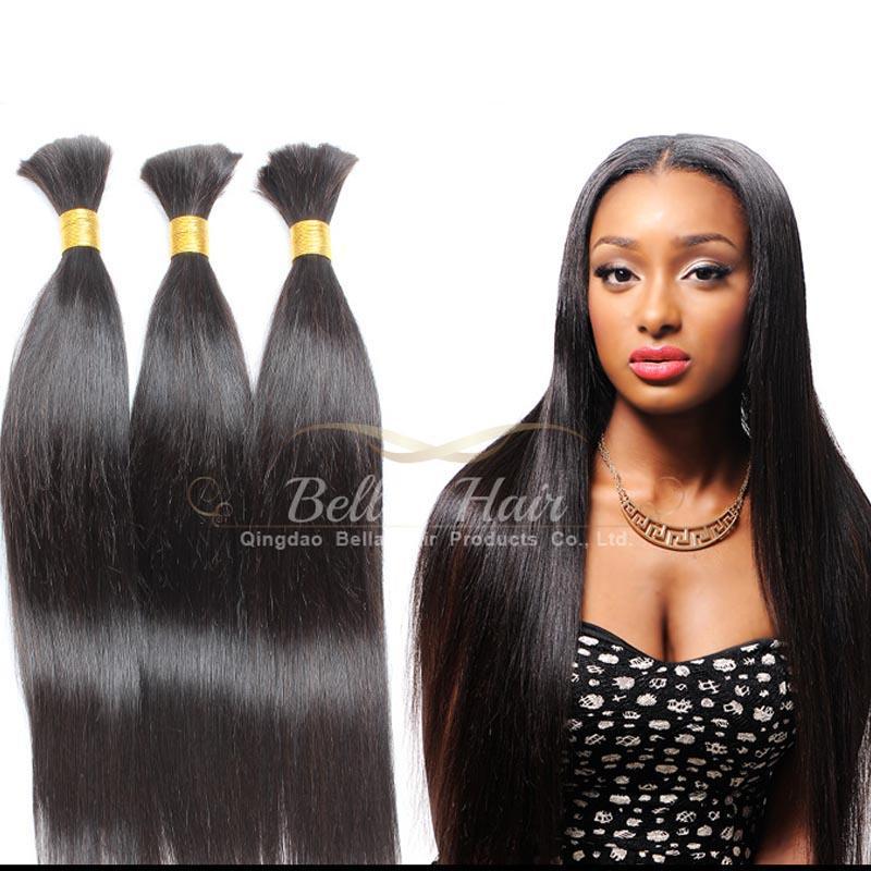 El pelo humano teje los bultos brasileños del pelo Extensiones del pelo humano Paquetes llenos rectos sedosos Bellahair Envío de la gota