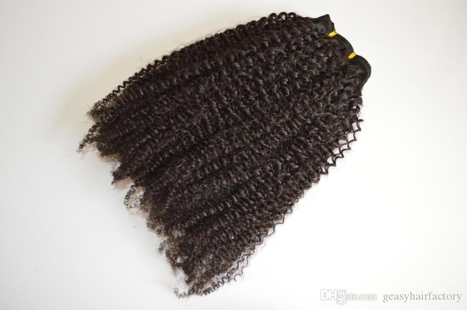 African American Clip in Human Hair extension Brazilian Virgin Hair afro Kinky Curly Unprocessed Natural Color LaurieJ Hair