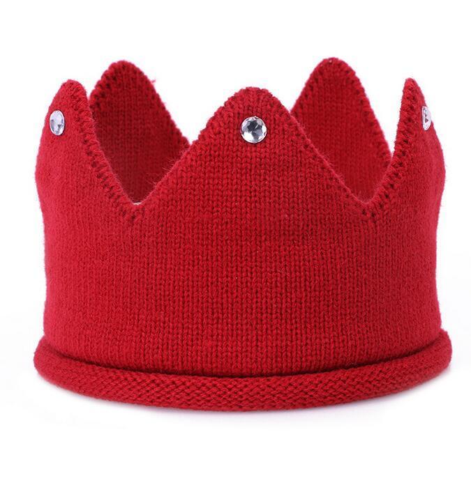 Baby stricken Krone Tiara Kinder Säugling häkeln Stirnband Mütze Hut Geburtstag Party Fotografie Requisiten Beanie Bonnet Winter warm halten