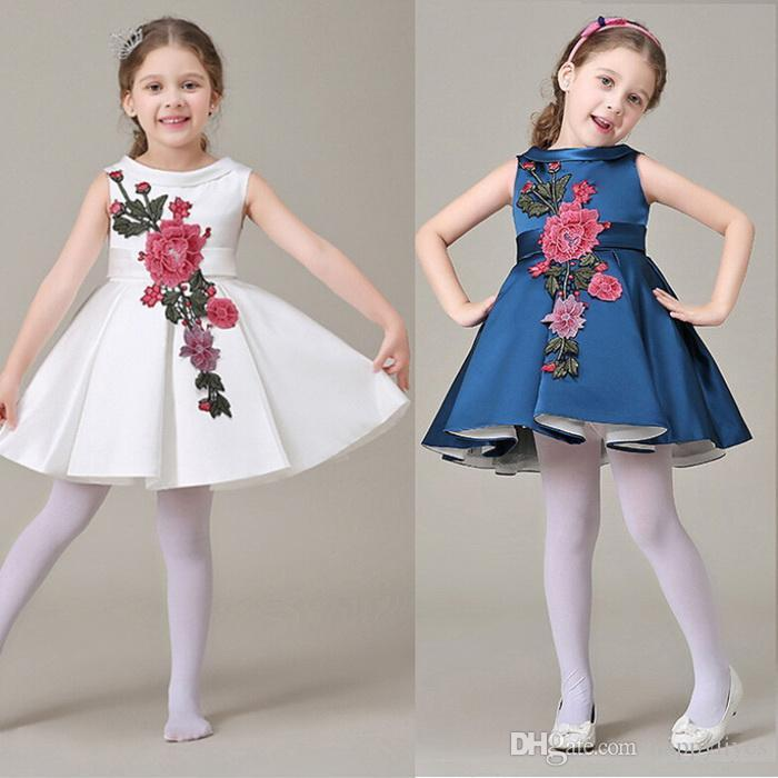 Online Cheap Party Dress European Style Kids Dress Wear Fashion Flower Cotton Baby Girl Party