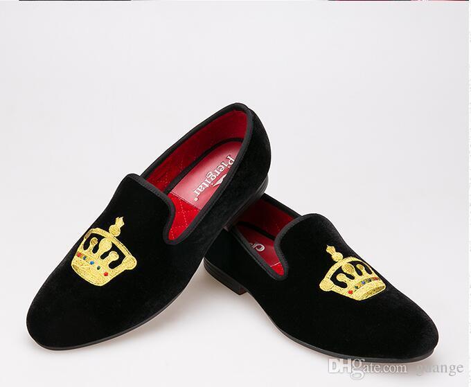Förderung Neue frühling Männer Velvet Loafers Party hochzeit Schuhe Europa Stil Bestickt schwarz Samt Hausschuhe Mokassins NXX404 Fahren