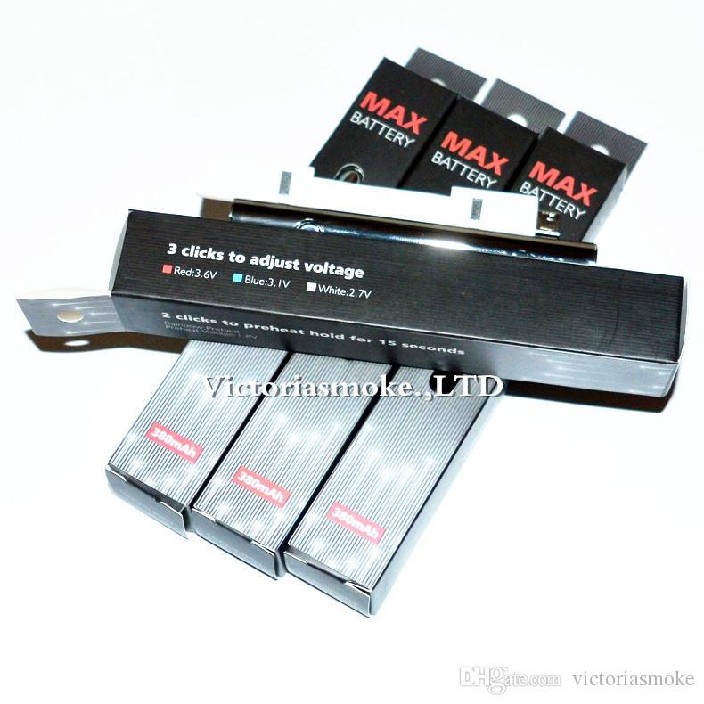 Auténtica Amigo Max Precalentar batería 380mAh Voltaje Variable inferior de carga de la batería 510 Para aceite espeso cartuchos de pluma vaporizador