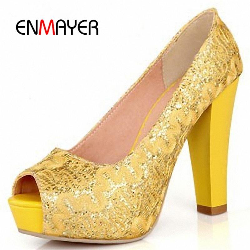 ENMAYER Sexy Round Toe Sequined Cloth High Heels Women Pumps Shoes Party  Pumps 2016 Brand New Design Less Platform Pumps Online with  100.1 Pair on  ... 5ad3d71232f6
