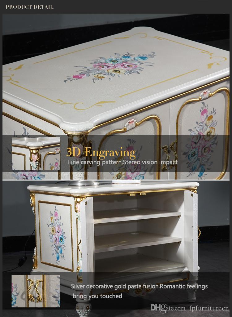 French Royalty classic furniture - baroque handcraft cracking paint floor cabinet French rococo style TV cabinet