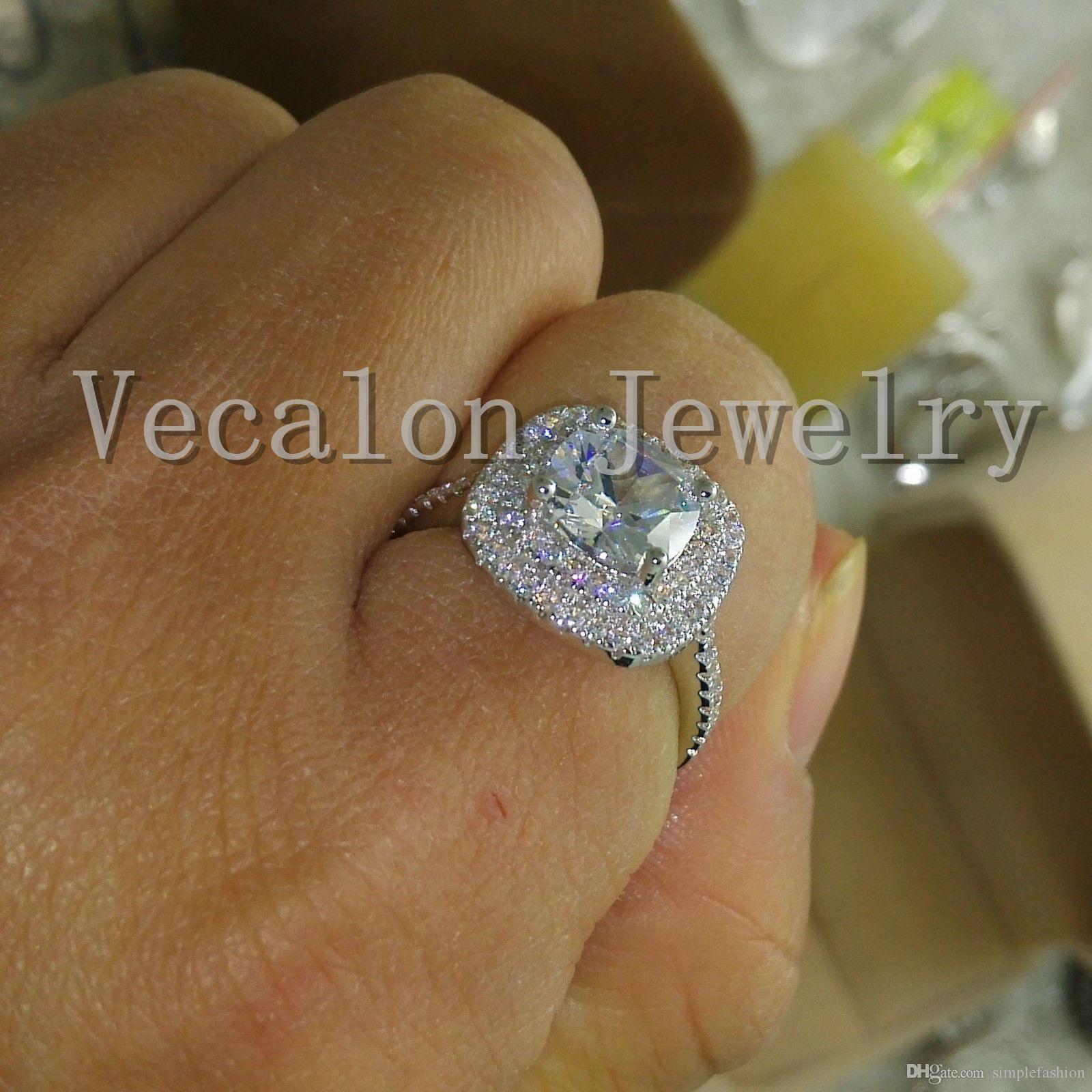 Vecalon 2016 fashion Design bague de fiançailles pour les femmes 3ct Simulated diamond Cz 925 bague en argent Sterling femelle bague