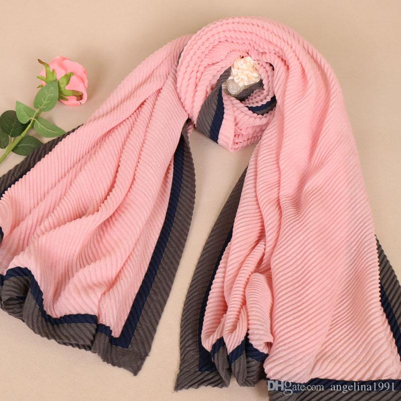 High quality soft cotton pleat patchwork scarf design wrinkle hijab ladies muslim Muffler wrap scarves/scarf