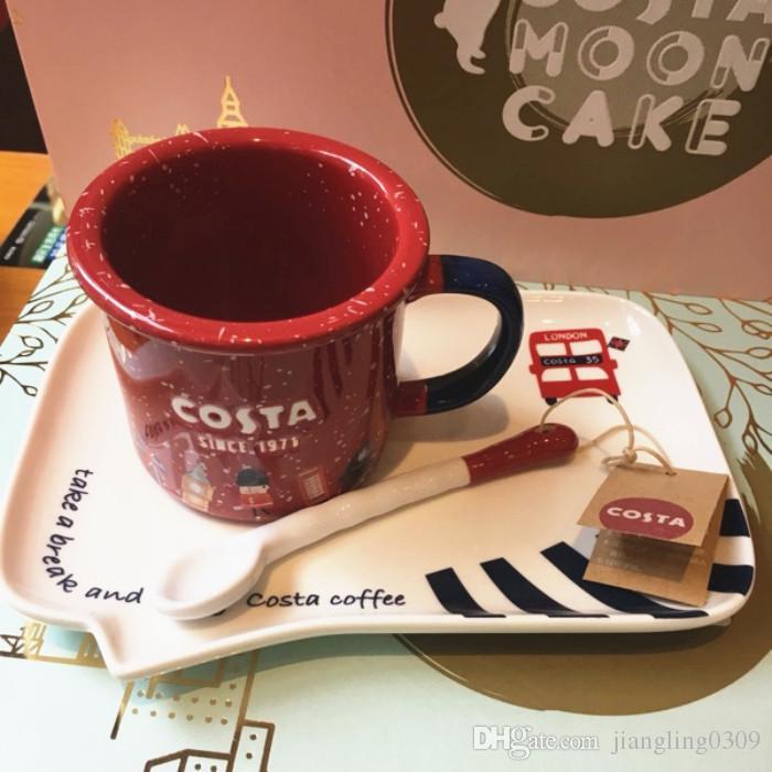 Authentic Costa Abbey Road Rhapsody Red Coffee Cup London Style Mug For Starbucks Coffee Milk Tea 265ml Ceramic Mug With Spoon