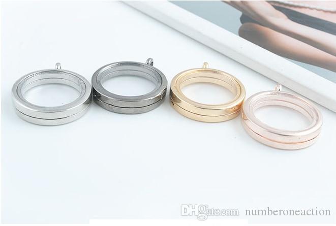 Heißer Großhandel Edelstahl Halskette 30mm Runde Magnetische Glas Floating Charm Medaillon Anhänger mit Strasssteinen Freie Kette