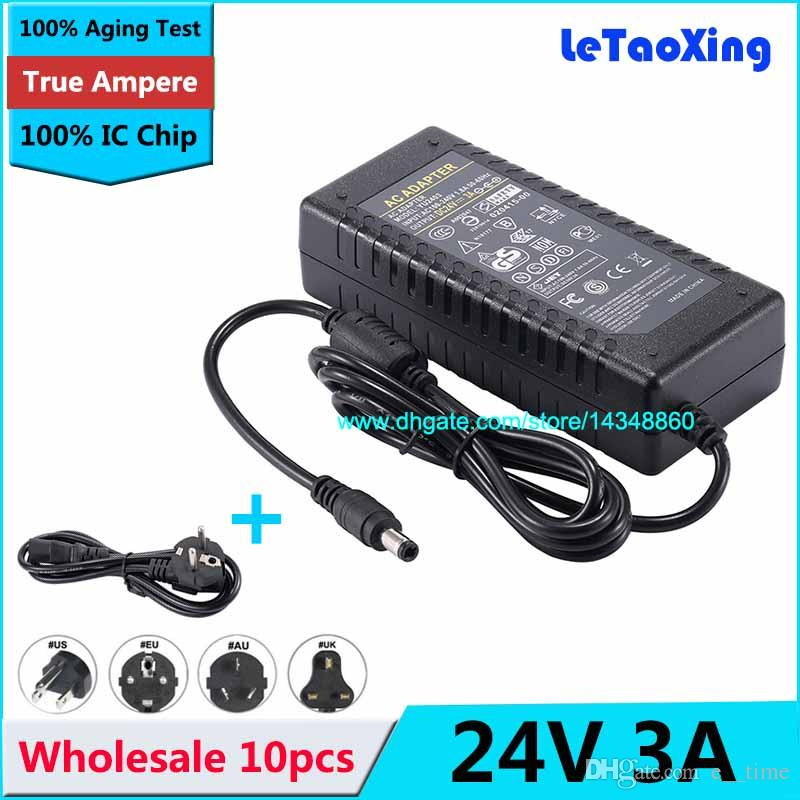 10pcs AC DC Power Supply 24V 3A Transformer 72W Adapter For 5050 3528 LED  Rigid Strip LCD Monitor Cord Cable With IC Chip