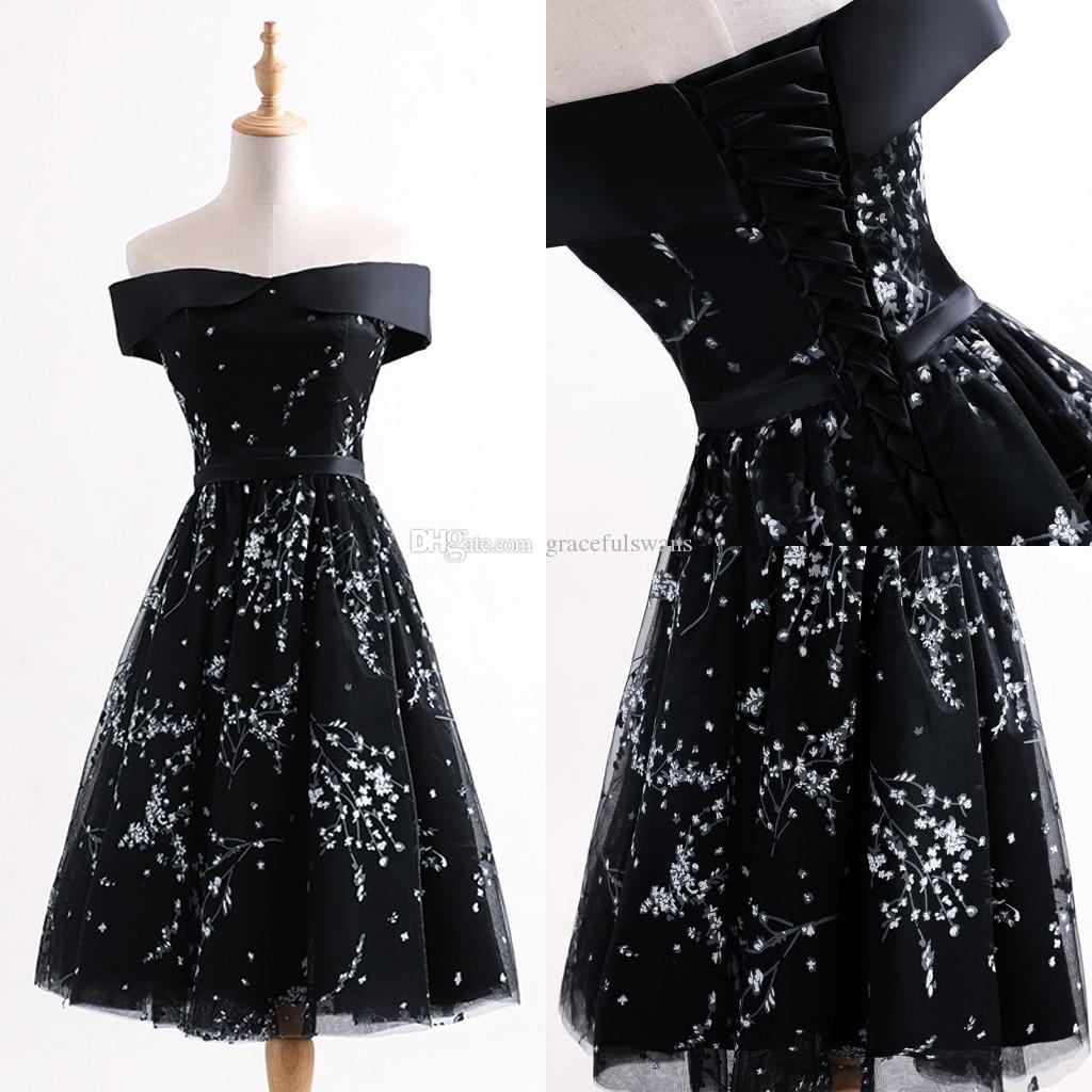 1b88ef16de Boat Neck Black Short Prom Dresses Cute White Flowers A Line Girls  Graduation Dresses Cheap Party Dress For Women Prom Formal Dresses Scala Prom  Dresses ...