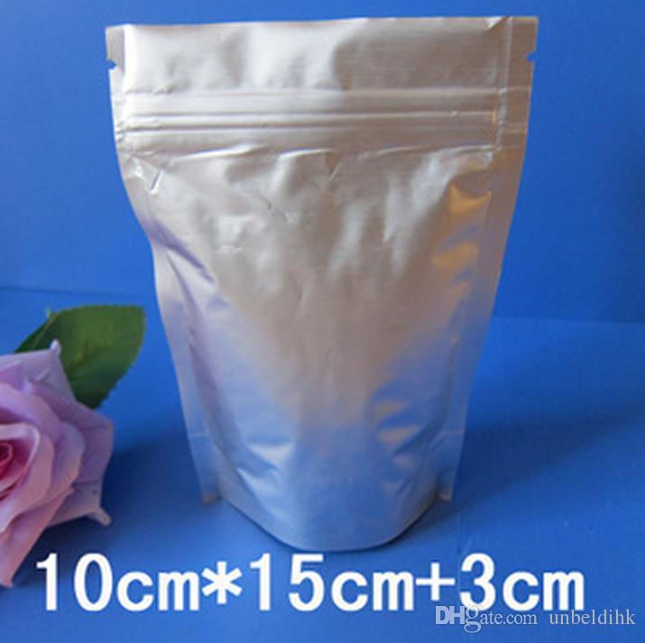 10 * 15 + 3 centímetros 100p Recloseable Levanta-translúcido puro zip alumínio auto bloqueio vedação bolsa metálico prateado alumínio zíper saco de embalagem