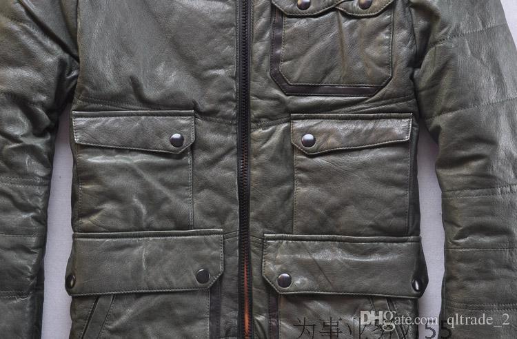 Collar de es de pie Chaquetas de plumón de piel de oveja 100% con forro de plumón 95% Abrigos de plumón de cuero genuino de múltiples bolsillos al aire libre