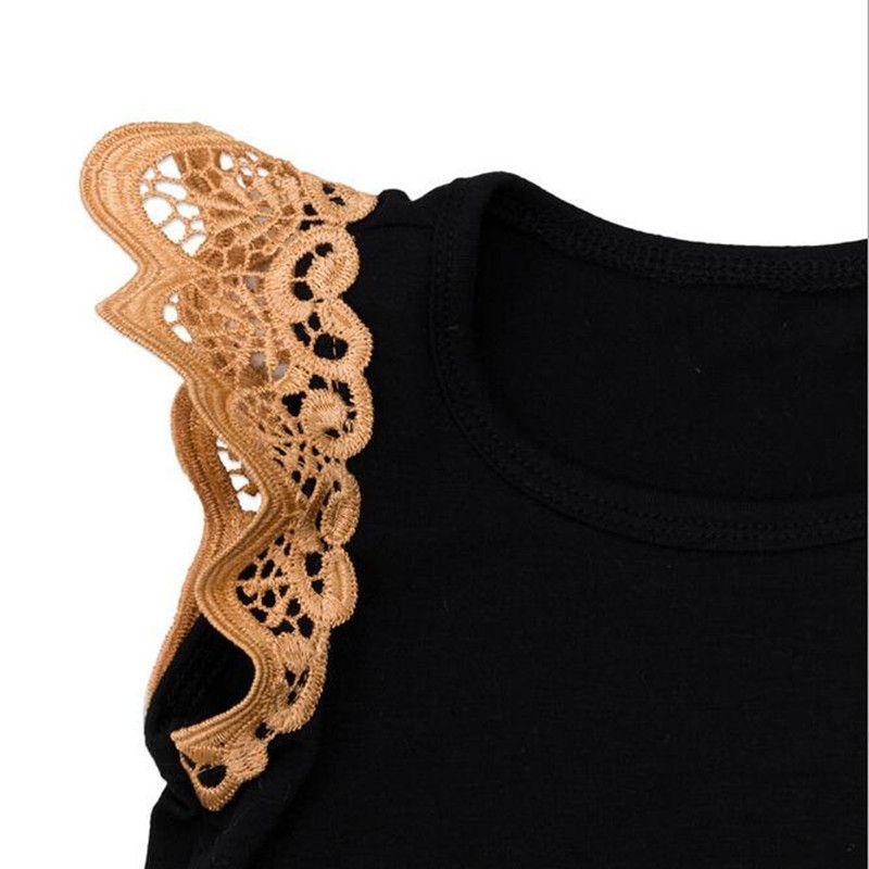 Wholesale Lace Ruffle Sleeve Summer Knit Cotton Baby Girls Bodysuit Set Black Girls Clothing Set Playsuit with Headband